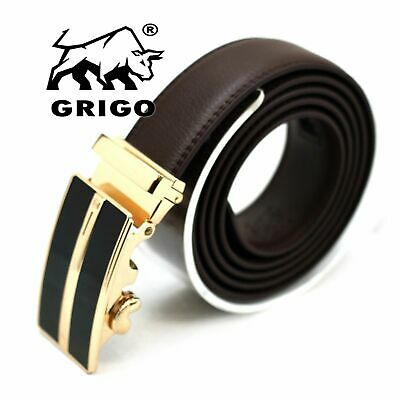 Mens Brown Designer Leather Dress Belt Sliding Ratchet Automatic Buckle Holeless