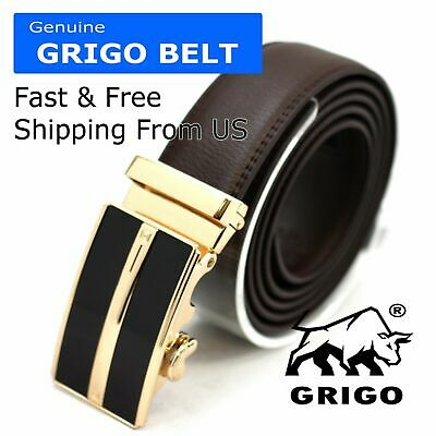 Mens Designer Leather Dress Belt Sliding Ratchet Automatic Buckle Holeless