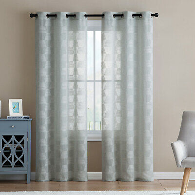 Jolie 2-Pack Trapazoid Embroidered Sheer Grommet Panel, Sea Foam Green, 76x96 In