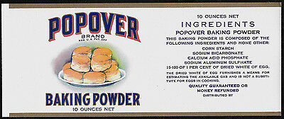 Vintage 1920's POPOVER Brand Baking Powder Stone Litho and Gilded Paper Label