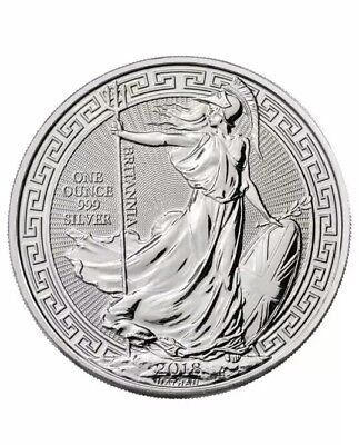 UK (GREAT BRITAIN) BRITANNIA 2 Pounds 2018 (Oriental Border) 1oz SILVER Coin UNC