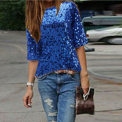 Fashion Women Half Sleeve Crew Neck Sequin Accessory Blouse Casual Club Tops