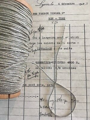 """4 yd Vintage/Antique French Silver Metallic Beadette Cord Trim 1/16"""" Lampshade"""