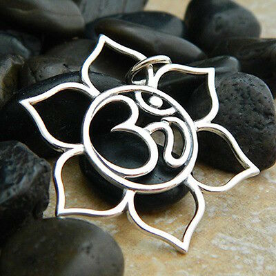 Yoga Jewelry 925 Sterling Silver Large Lotus Ohm Pendant Charm for Necklace 1190