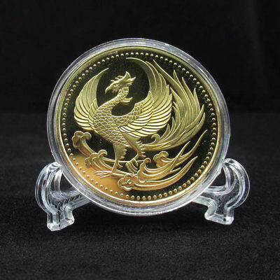 New Golden Phoenix Chrysanthemum Metal Coins Souvenir Art Gold Gift Dia 40MM