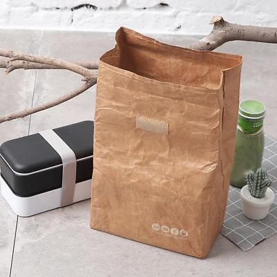 Brown Insulated Thermal Kraft Paper Lunch Bag Retro Style Re-usable Lunch Box 6L
