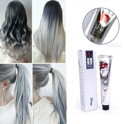 Permanent Granny Gray Color Hair Dye Cream Unisex - Light Grey Punk Silver
