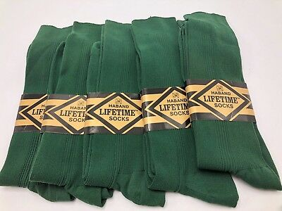 Vintage Haband Lifetime Socks Dark Green Stretch Nylon Crew Lot 5