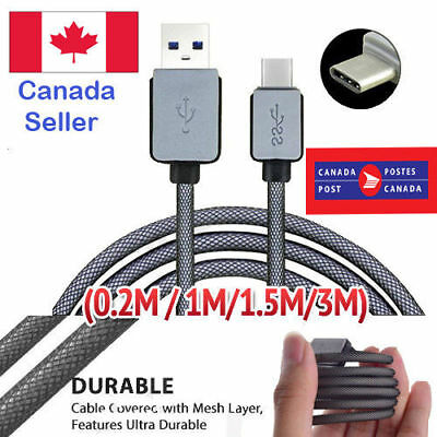 Braided Type-C USB-C Fast Charger Cable Cord 1M 3M For Samsung S10 S9 Note 9