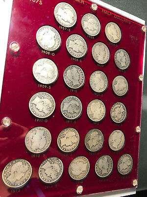 BARBER HALF DOLLAR COLLECTION 1907 S - 1915 S, 24 Silver 50 Cent Coin KEY DATES