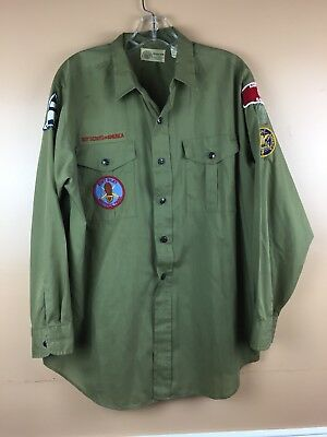 Vintage Boy Scouts of America Shirt BSA Poplin Sanforized Green Patches Neck 16