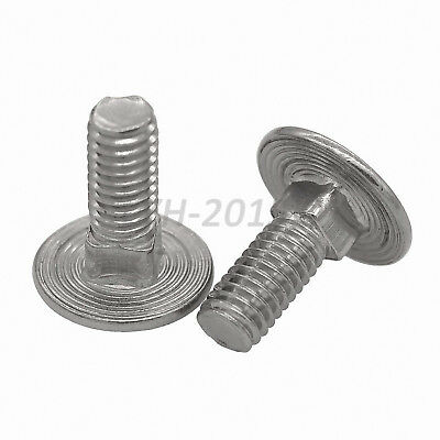 M6 M8 Carriage Bolts Cup Square Dome Coach Bolts Screws - Bright Zinc Plated