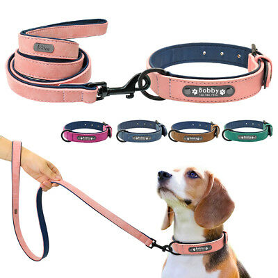 Genuine Leather Personalized Dog Collar and Leash Set Inner Soft Padded Collar