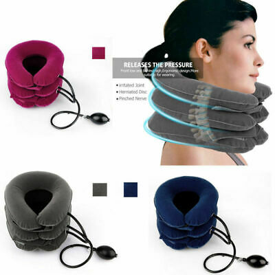 Air Inflatable Pillow Cervical Neck Head Pain Traction Support Brace Device US