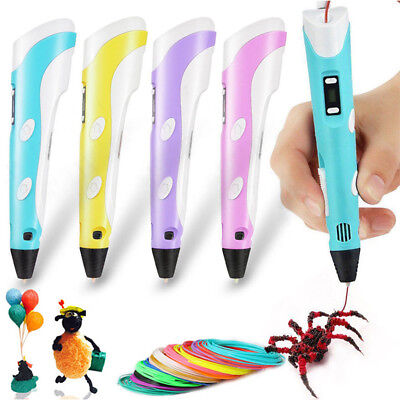 3D Stereoscopic Doodler Printing Pen LCD 2nd Gneration+3 Free Filaments+AU Plug