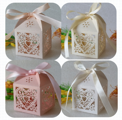 50 Laser Cut Favour Boxes Heart Wedding Christening Party Candy Party Baby Gift