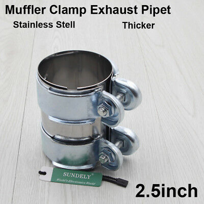 """2.5""""/66mm Clamp-On Stainless Exhaust Pipe Connector Sleeve Joiner Clamps Kit"""