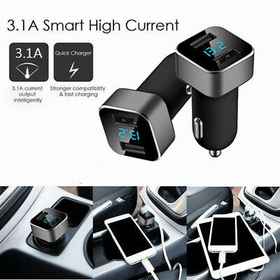 Car Charger 5V/3.1A Dual USB 2Port LCD Display Cigarette Socket Lighter Adapter~