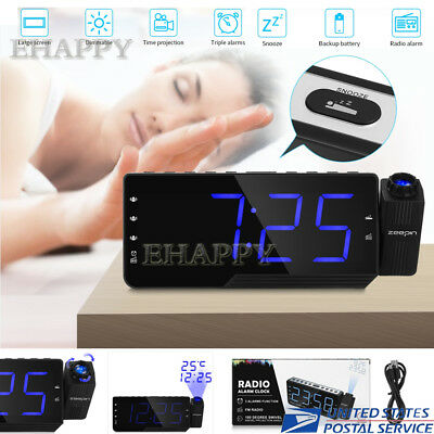 LCD Digital LED Projector Projection Snooze Alarm Clock Radio Timer Backlight