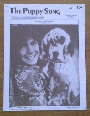DAVID CASSIDY/ The Puppy Song - G8-Free Post- [SHEET MUSIC]