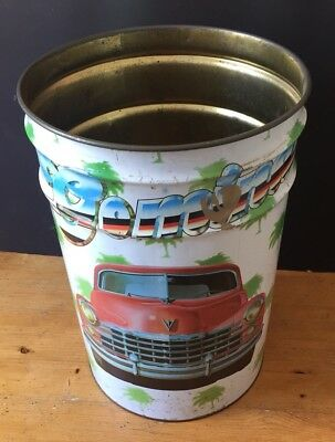 Vintage Bin w/ Car Graphics Palm Trees Gomina 1980s Drum Waste Paper Toy Storage