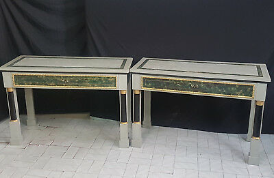Rare Pair Of  Late Empire Napoleon Iii Italian  Consolles Lacquered From 1930-40