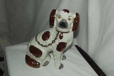 "Small Antique Copper Lustre Staffordshire Dog~ Separate Legs ~ 6.25"" 1850-80"