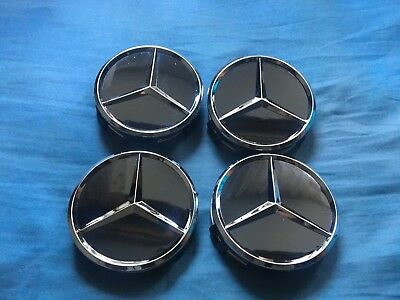 4X Black Mercedes Benz Wheel Centre Caps For A Class With Original Oem Emblem