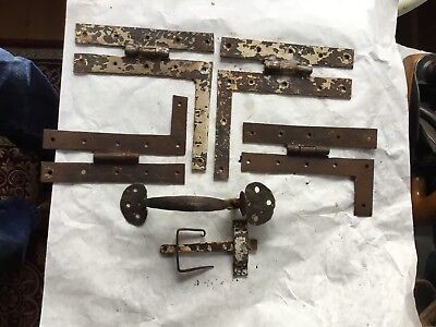 200 Years Old  New England Farm House Hinges & Thumb Latch