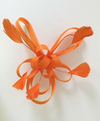 Orange Feather Fascinator Hair Clip Ladies Day Races Party Wedding