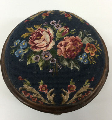 Antique Victorian FOOTSTOOL  floral cross-stitch tapestry Berlinwork wool