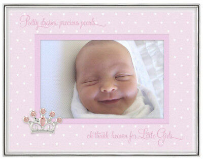 Malden 4x6 Baby Girl picture frame NEW! pink crown silver princess photo