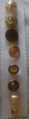 Antique Vintage Buttons Collectable 8 metal lot gold 1950's 60's