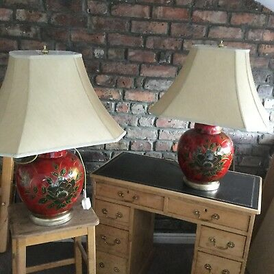 Pair Of Large Red Ceramic Table Lamps Chinese Style Gold Beige Shades