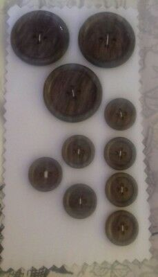 Antique Vintage Buttons Collectable 10 plastic  40's sewing craft knitting