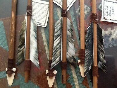 4 Handcrafted Arrows w/wood shaft Carved Tip Feathers Great Arrow of Light Item!