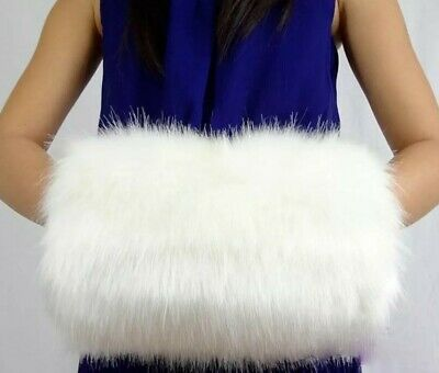 Beautiful, large, Vintage style, white, long pile faux fur, hand muff