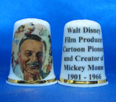 Birchcroft Porcelain China Thimble - Walt Disney Film Producer - Free Dome Box