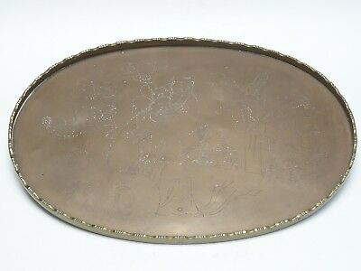 """ANTIQUE LATE 19c QING CHINESE OVAL INCISED SCHOLAR SCENE BRASS OVAL TRAY 13.5"""""""