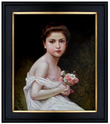 Framed Hand Painted Oil Painting Repro Bouguereau Girl with a Bouque 20x24in
