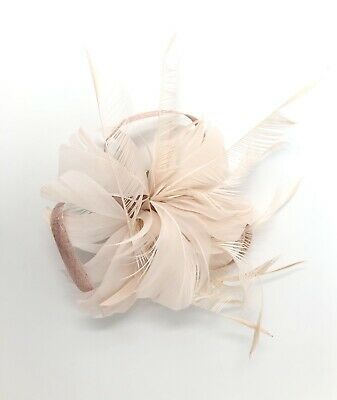 Nude / Bare Pink Feather Fascinator Hair Clip Ladies Day Races Party Wedding