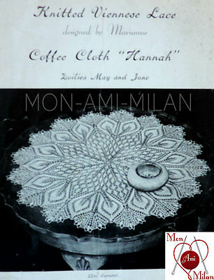 Vintage Knitting Pattern Copy PRETTY VIENNESE LACE DOILIES COFFEE TABLE MATS