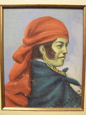 Vintage Exotic Portrait Oil On Board Painting - High Quality Artist Signed Work