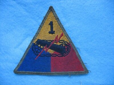 Original salty used WWII US Army 1st Armd Division greenback patch Africa Italy.