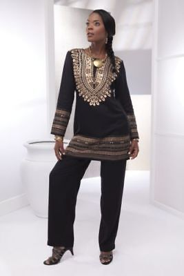 Ashro Ethnic African American Pride Gold Black Dashiki Pant Set S M 2X PLUS