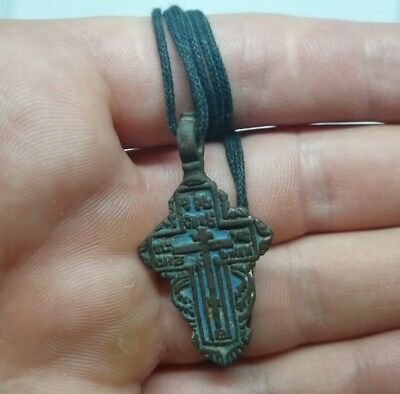 Antique Byzantine bronze Russian Orthodox Golgotha Solar Sun cross صليب