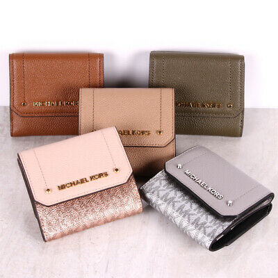 5034e2ac0e8f NWT Michael Kors HAYES Leather Medium Trifold Coin Purse Card Case Flap  Wallet