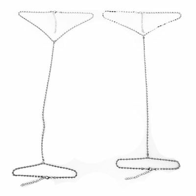 2pcs Women Shiny Rhinestone Bikini Thigh Leg Chain Body Chain Jewelry D9O7