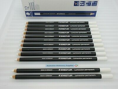 12 x WHITE Staedtler Glasochrom Chinagraph Lumo Pencil free post
