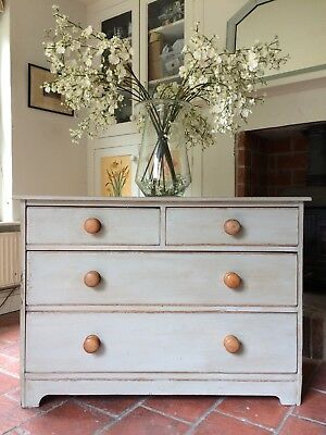 Antique Victorian Pine Grey Painted Pine Chest Of Drawers